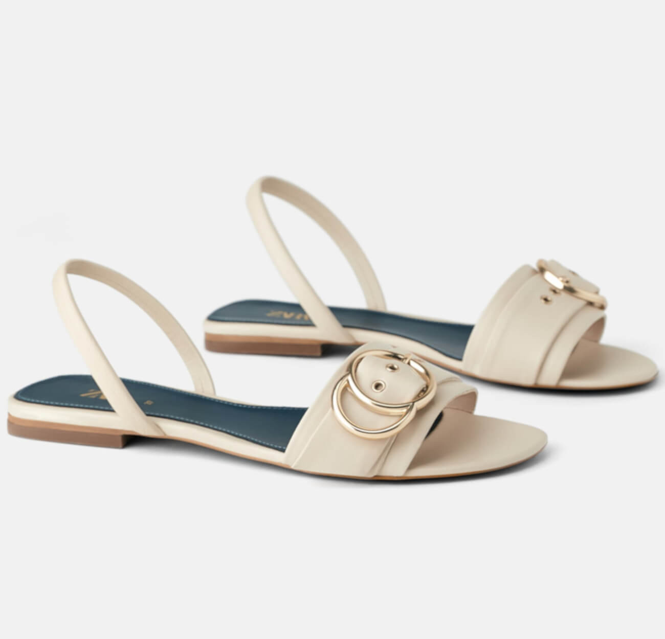 BLUE COLLECTION FLAT LEATHER SANDALS