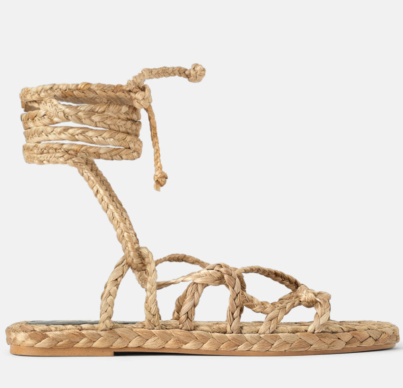 NATURAL WOVEN STRAP SANDALS for this summer